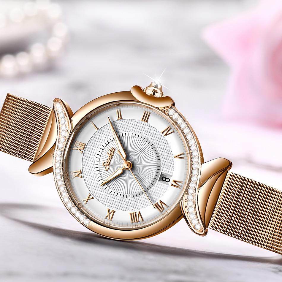 SUNKTA Women Watches Luxury Brand Mesh belt Ladies Quartz Women Watches 2021 Sport Relogio Feminino Montre Femme Wrist Watch+Box enlarge