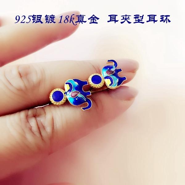 925 prata chapeado elefante lapis lazuli brincos cloisonne esmalte jóias brincos