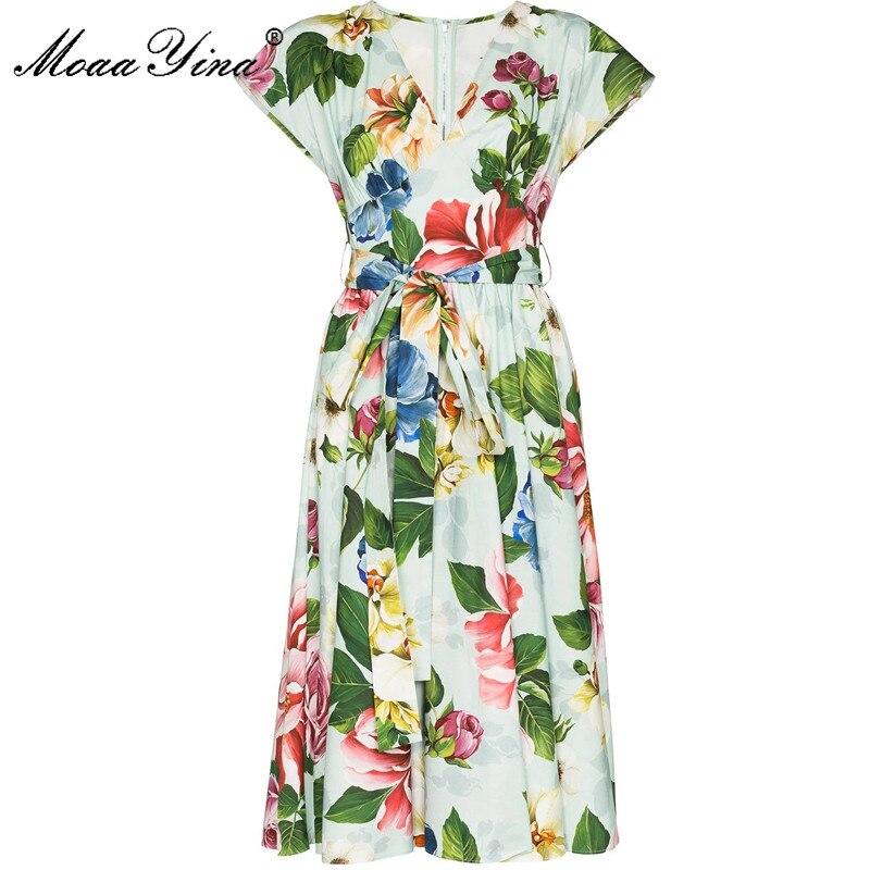 MoaaYina, vestido de algodón de moda elegante con encaje, vestido de verano para mujer, cuello en V, manga corta, estampado Floral, vestidos de algodón de jardín