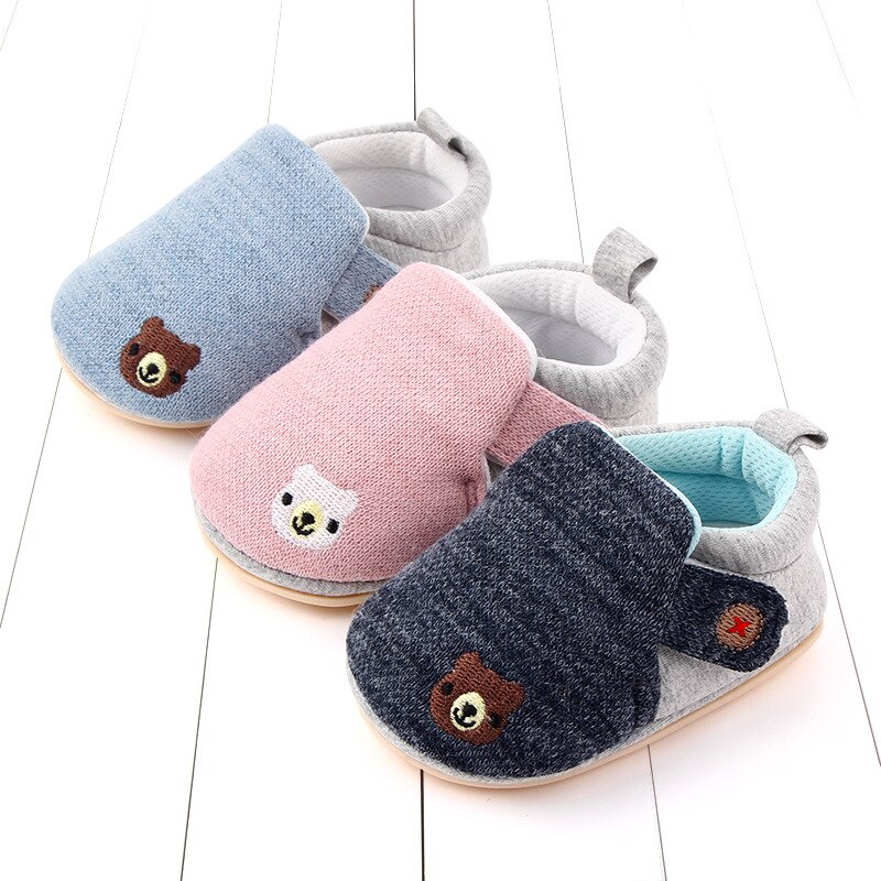 Baby Boy Shoes for 1 Year Old Girl Cartoon Newborn Moccasins First Walkers Cotton Fabric Infant Toddler