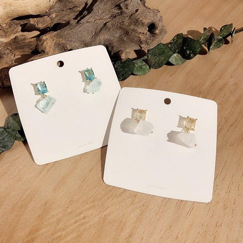 Mengjiqiao novo coreano irregular natural pedra de cristal brincos para mulheres vintage sqaure pendientes moda menina jewerly