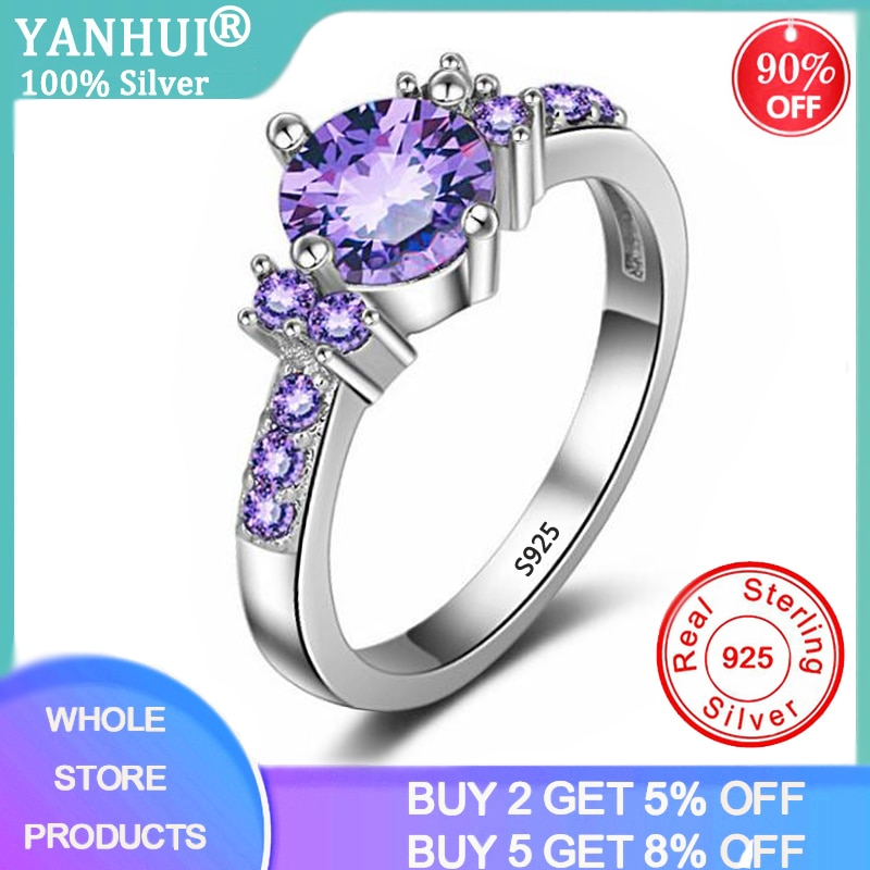 YANHUI Trendy Gemstones Silver 925 Jewelry Purple Crystal Rings For Women Solid Silver Ring Luxury Amethyst Ring Cocktaill Rings wellmade solid 925sterling silver illuminati ring
