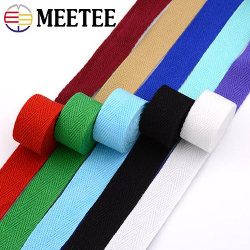 Meetee 10M 20mm Color algodón cincha espiga envoltura de manualidades correa de rodillo ropa Ropa Decoración Artículos de costura artesanal BD213