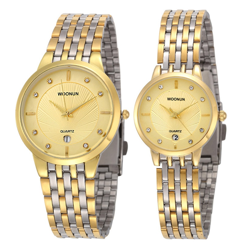 Luxury Brand Couple Watches WOONUN Casual Pair Watches Stainless Steel Quartz Watches Lovers Watches Hours Valentine's Day Gifts the lovers day gifts
