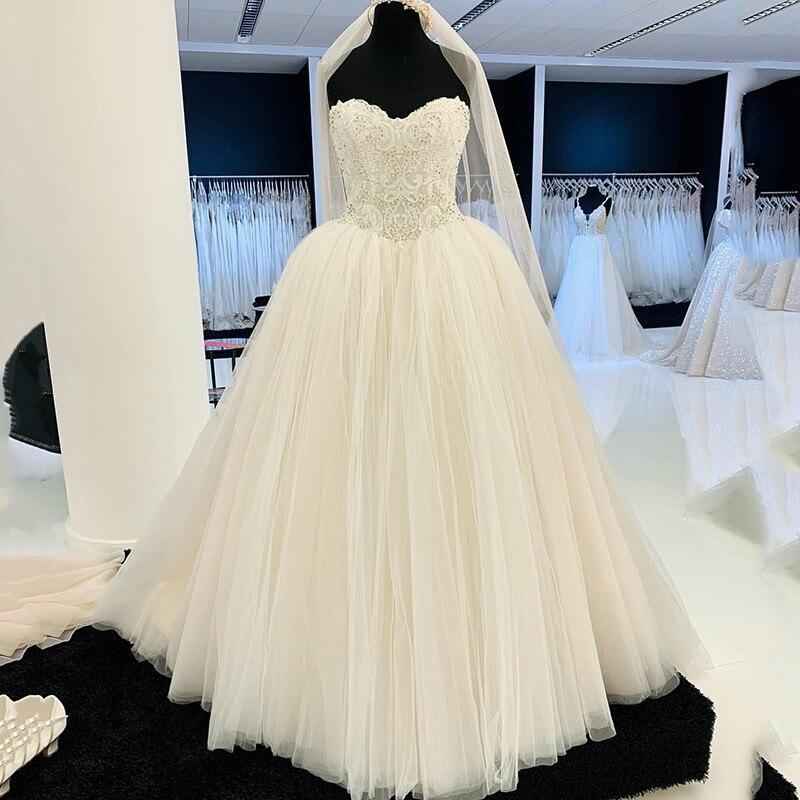 Реальное фото бальное платье Свадебные платья 2021 кружевные бусины Кристаллы платье для невесты Женский корсет до пола Свадебные платья