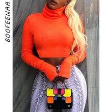 BOOFEENAA Neon kolor golf Crop top z długim rękawem kobiety Sexy Slim jesień zima topy w stylu Streetwear Tshirt Streetwear C70-I23