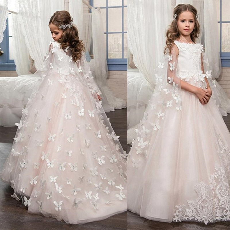 Flower Girl Dresses Gowns Butterfly Lace Appliqued Vintage Girl First Communion Dress Princess Gowns Butterfly Shawl  Custom