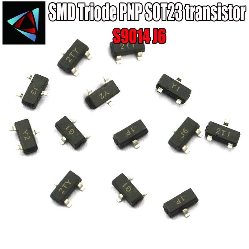 100 pces s9014 j6 sot-23 npn 45 v/100ma sot smd cr npn smd sot-23 transistor de superfície de montagem smd triode pnp sot23