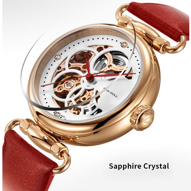Seagull mechanical watch ladies watch fashion hollow perspective automatic mechanical watch waterproof time goddess 6002L enlarge