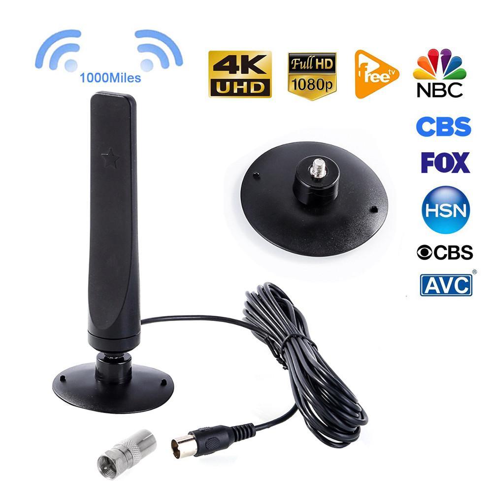 1000 km 1080P cubierta de la Antena de TV Digital receptor de señal amplificador Antena de TV Antena de HDTV Mini DVB-T2 con 3,0 M Coaxial cable
