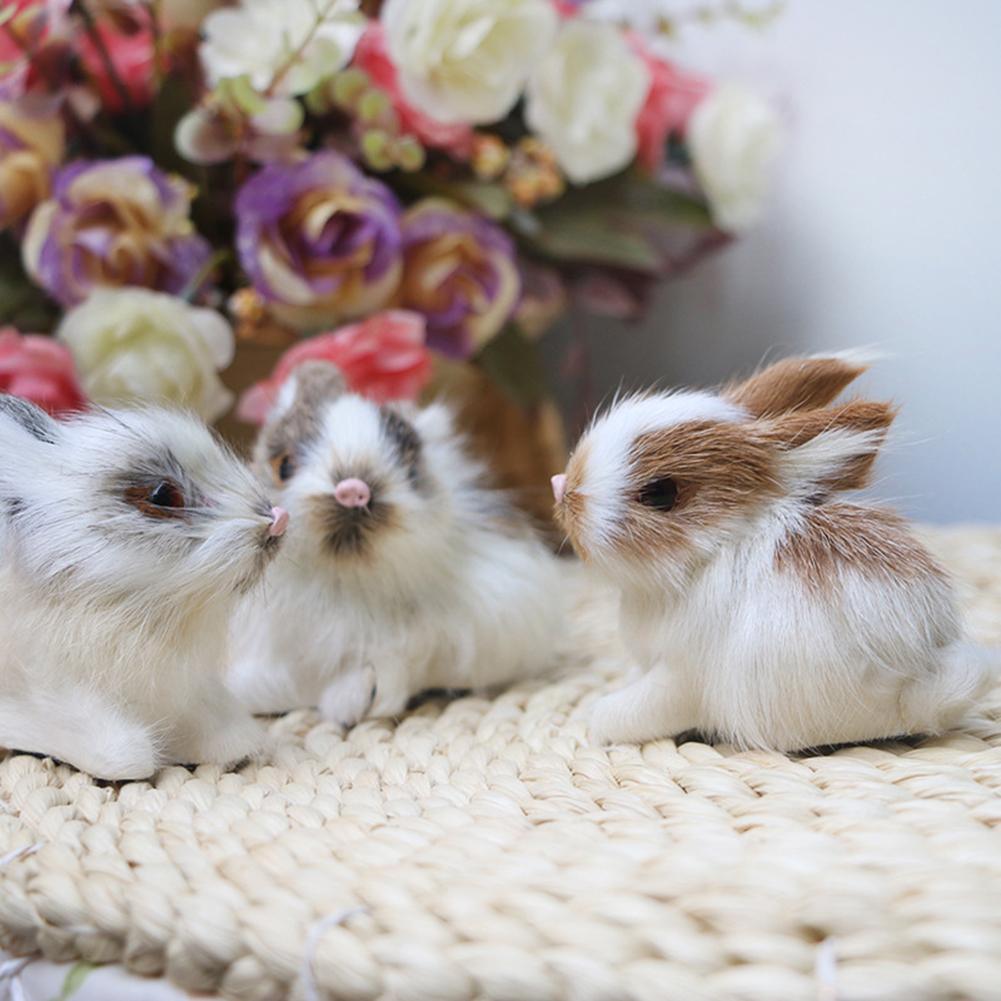 Реалистичный белый плюшевый кролик 15 см, реалистичное животное, Пасхальный кролик, модель, подарок на день рождения, игрушка-кролик