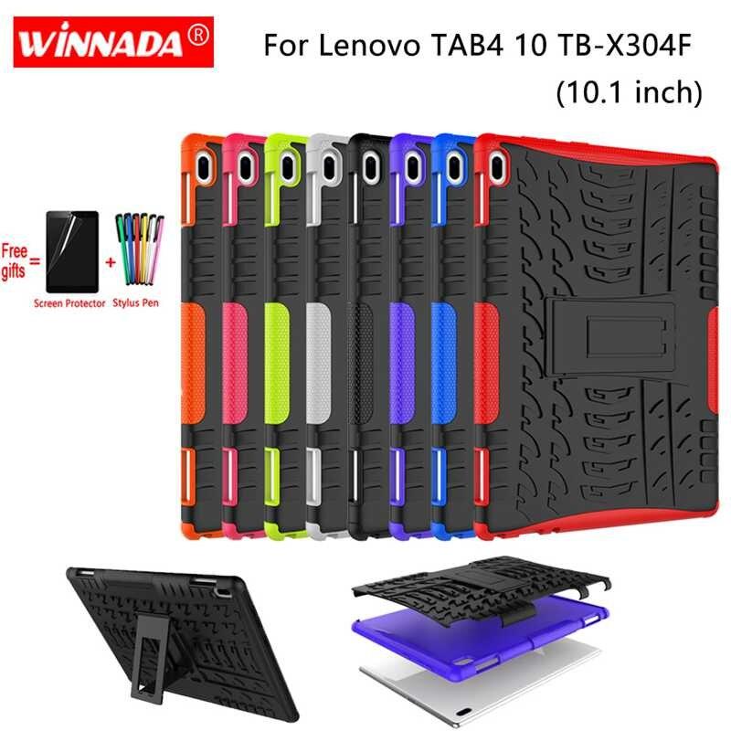 Чехол для lenovo Tab 4 10, 10,1 дюймов, чехол для TB-X304L, TB-X304F, защитный чехол для планшета, Силиконовый ТПУ + ПК, противоударный чехол-подставка + ручка + пленка