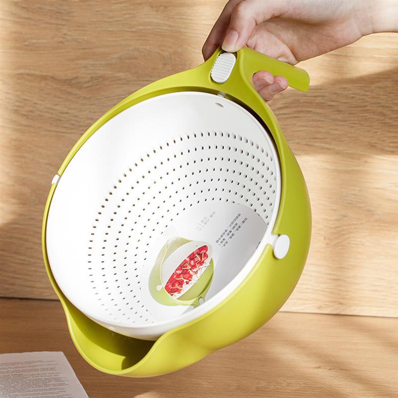 1 Pza doble capa portátil de lavado de arroz cesta de filtro de secado de frutas verduras cesto de lavado coladores utensilios de cocina