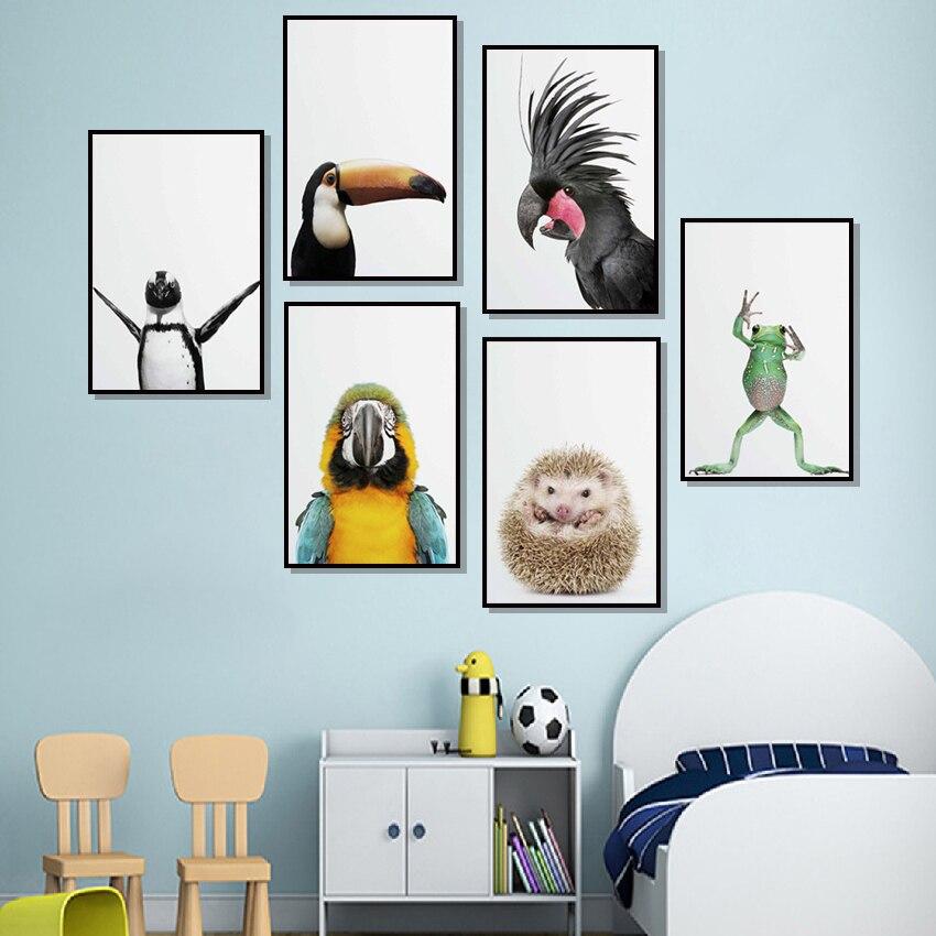 Bonitos carteles nórdicos de loro, Rana, erizo, pingüino, pájaro e impresiones en cuadro sobre lienzo para pared, imágenes para decoración para sala de estar