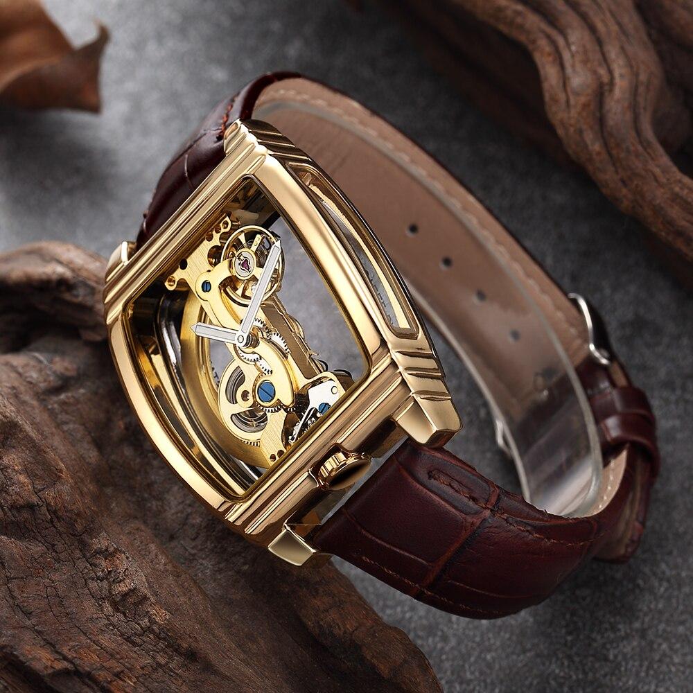 Transparente Mens Relógios Pulseira de Couro Marca de Topo Mecânico Automático Relógio de Pulso Steampunk Auto Winding Relógio Masculino montre homme