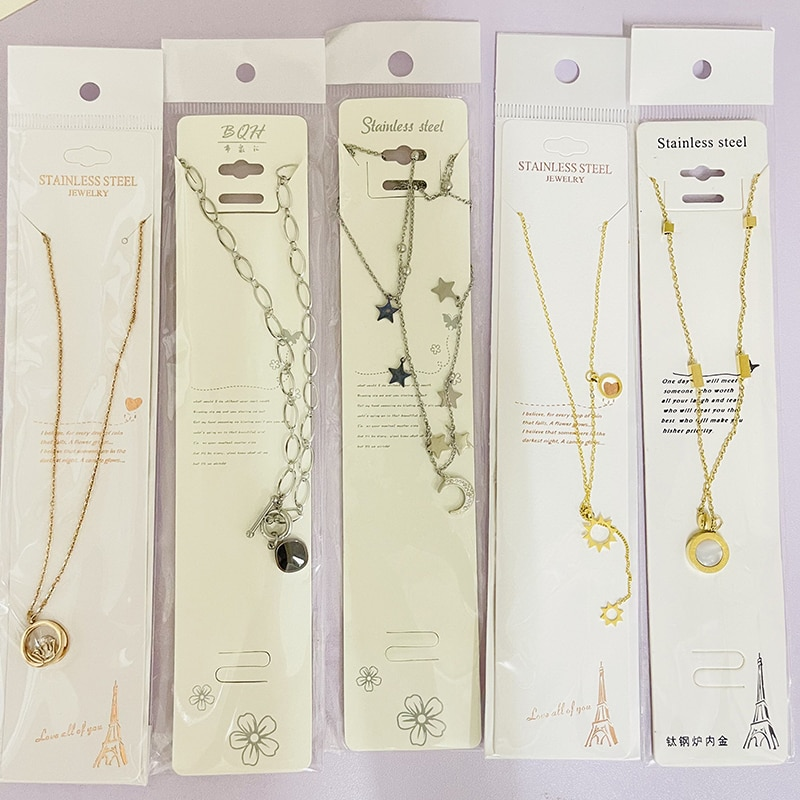 50 Pcs/Lot Mixed Designs Simple Style Stainless Steel Cubic Zirconia Pendant Necklaces For Women Jewelry On The Neck