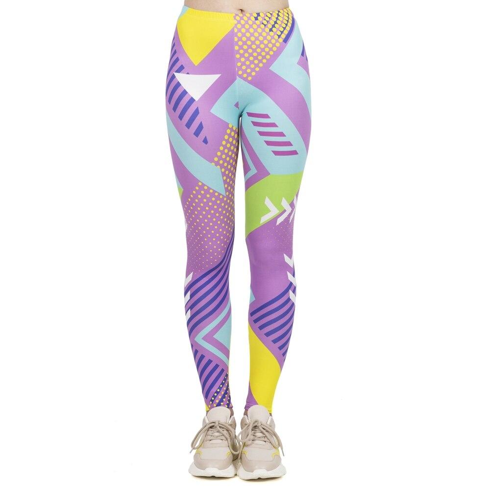 Leggings de moda feminina alta elasticidade leggins workout jogging calças fluorescentes neo geo impressão esporte leggins