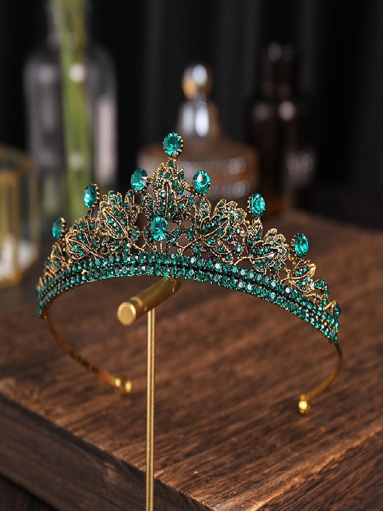 Bridal Semicircle Crown Headwear Rhinestones Inlaid Retro Headdress Luxury Alloy Crown Wedding Birthday Hair Products