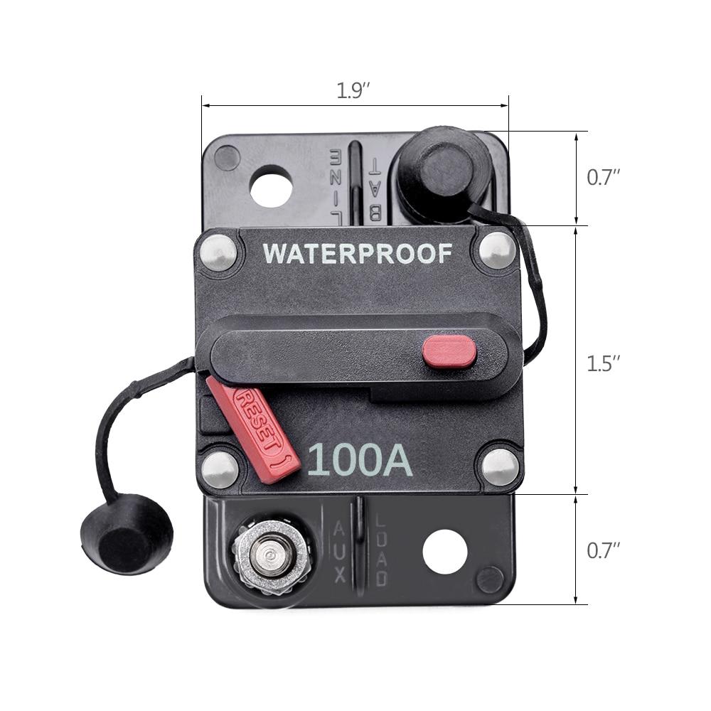 Interruptor de circuito de coche MICTUNING 100A, inversor fusible en línea térmico/reinicio Manual para sistema estéreo de remolque de camión todoterreno