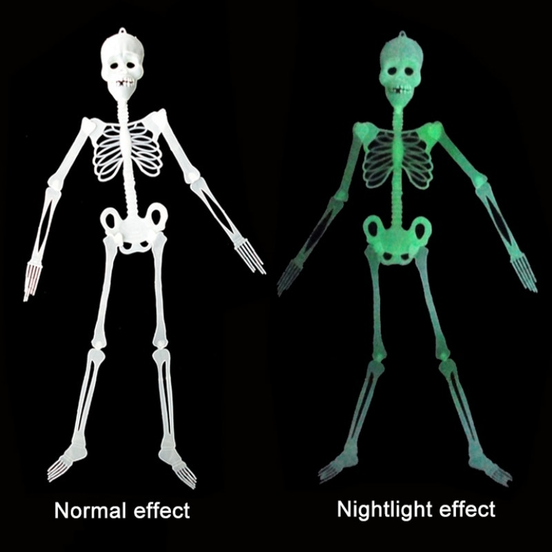 Happy Halloween Horror Luminous Skeleton Plastic Hanging Home Party Decor Skeleton Glow In The Dark For Ghost Halloween Decor