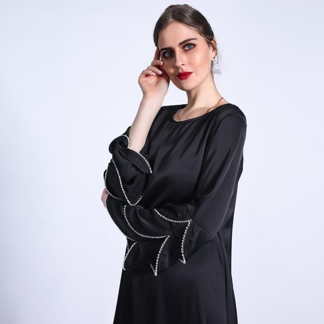 Ramadan Eid Silky Beading Cascading Abaya Hijab Muslim Dress female Caftan Turkish Islamic Kaftan Robe Musulman Abaya 8