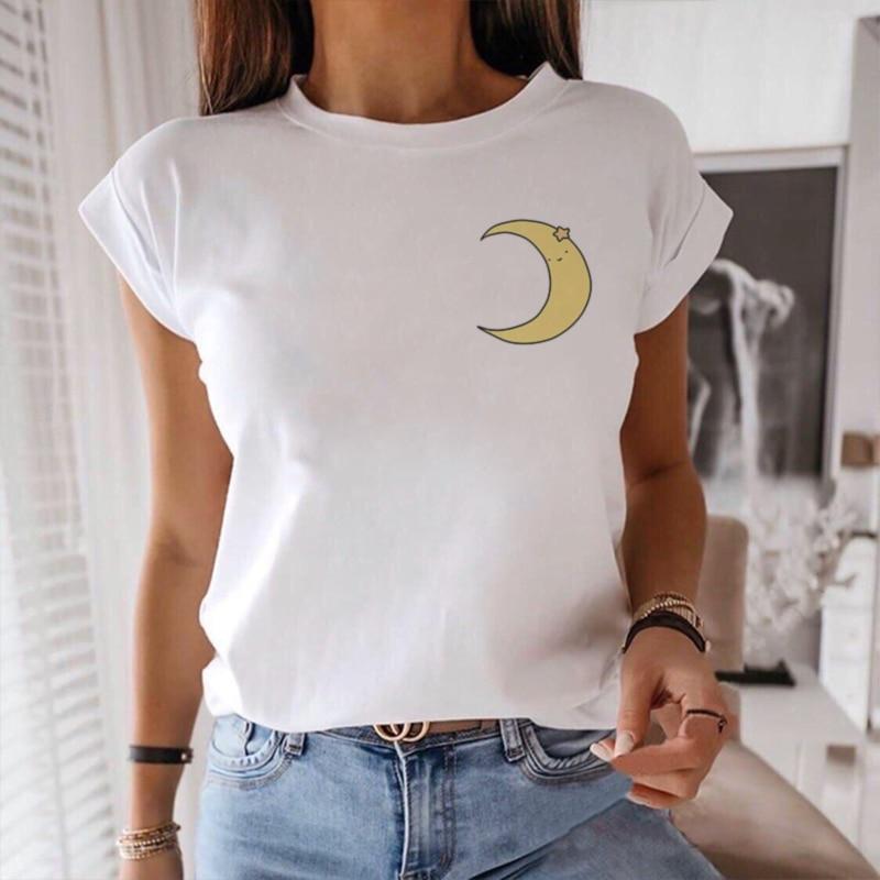 Little Moon Cartoon Graphic Print T-shirt Women Harajuku Aesthetic White Tops Tshirt Tee 2020 New Summer Fashion Female T Shirt