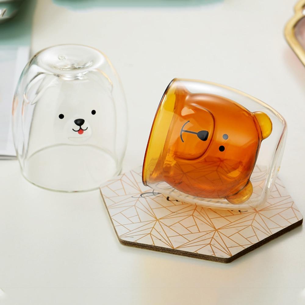 Taza aislada de cristal en forma de oso para Doble transparente...