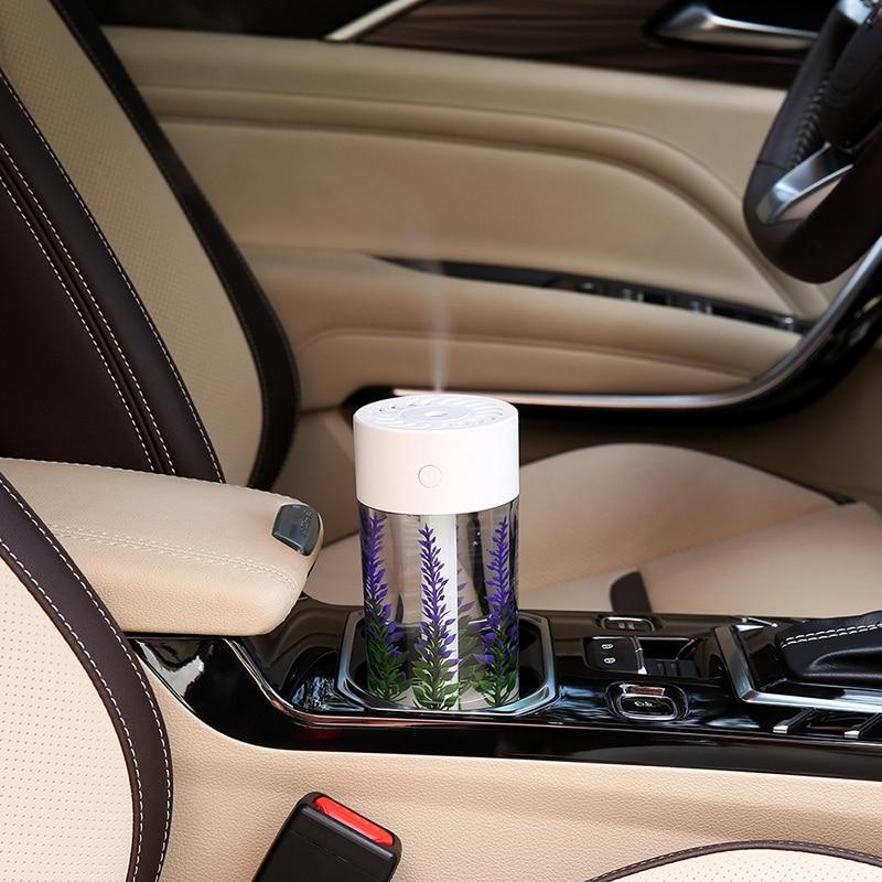 hot sale 360Ml Air Humidifier Lavender Landscape Usb Mini Car Humidifier Portable Aromatic Oil Diffuser 7 Color Change Lamp USB