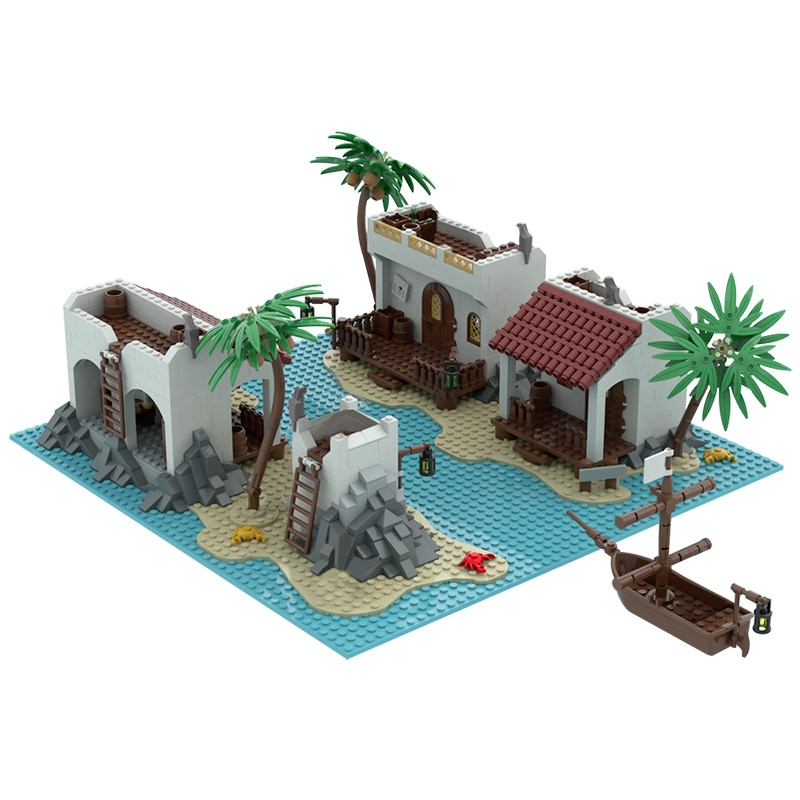 military city the way building blocks obstacle block model moc compatible city street view ww2 scenes diy christmas gift toys MOC Toys City Street Scene Lagoon Island Lake Construction Building Blocks Modular Architecture Block Model Gift For child