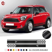2 pcs car styling mini logo car door side stripes skirt sticker body graphics decal for mini cooper countryman r60 accessories