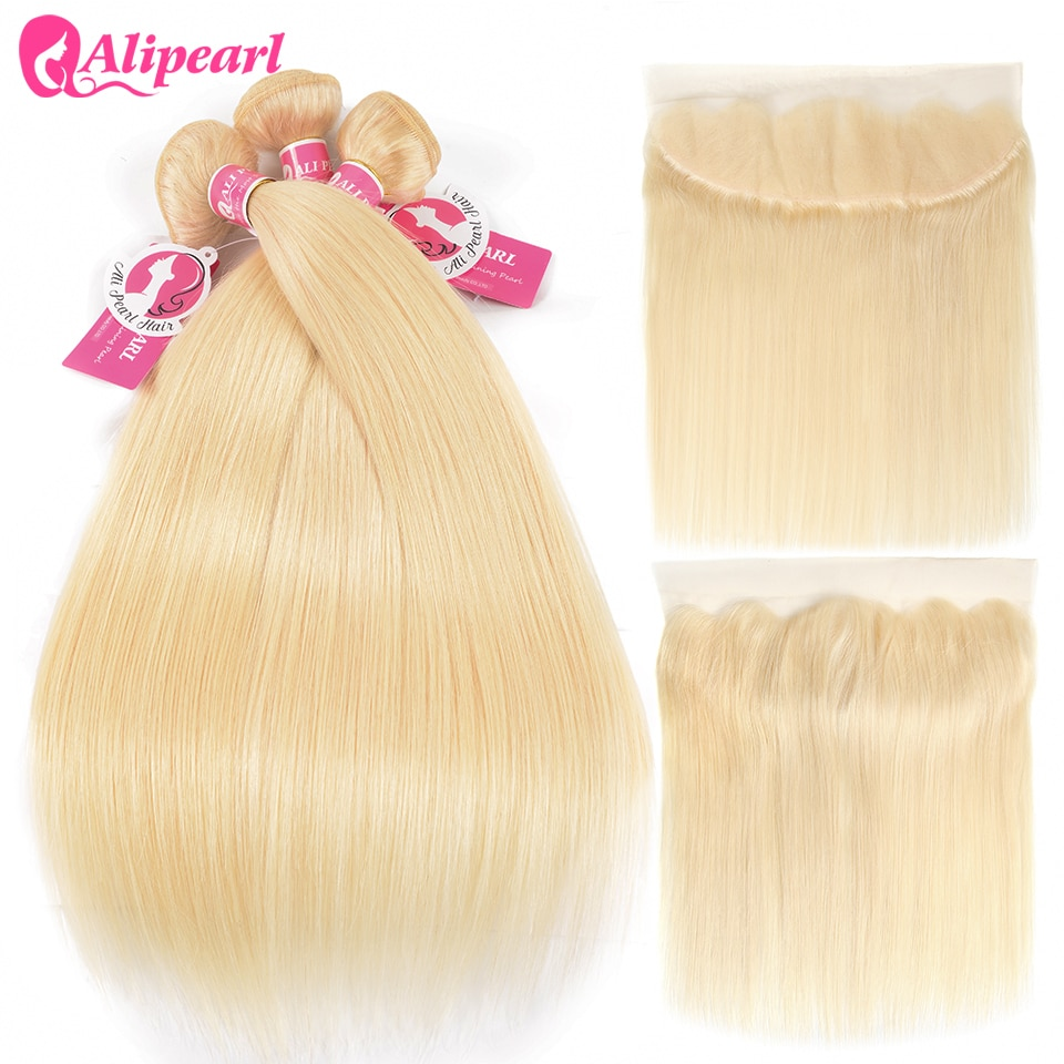 Perruque Remy lisse blond platine/miel/613-alipearl, mèches de cheveux avec Closure, pre-plucked Frontal