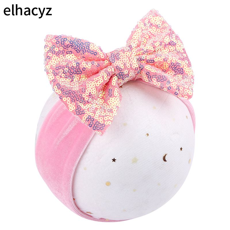 Chunky 5 Glitter Sequins Hair Bow Elastic Velvet Headband High-quality Handmade Spring Kids Headwear For DIY Accessories