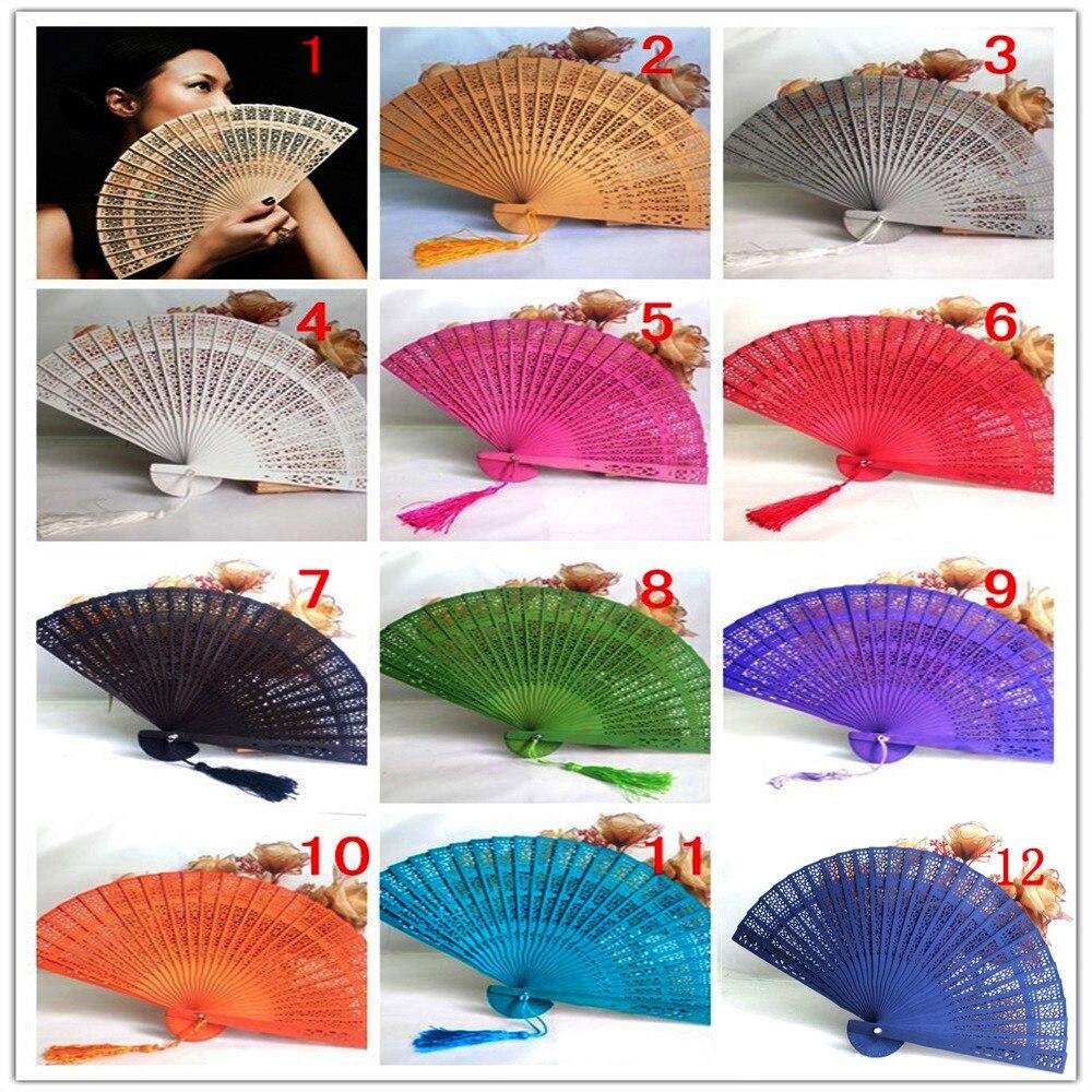 Ventilador de mão perfumada para casamento g815, ventilador dobrável de bambu estilo chinês, ventilador de mão madeira para senhoras