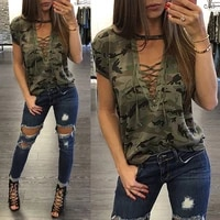 woman t shirt 2021 summer loose jersey short sleeve camo sexy t shirt ladies camouflage printed casual military t shirt