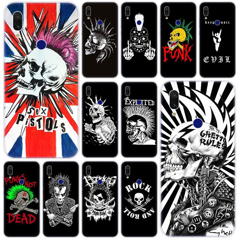 Hot Punk rock skull Soft Silicone Case for Xiaomi Redmi K20 Pro 8 8A 7 7A 6 6A 5 Plus S2 Note 8 7 6 5 Pro 4 4X Fashion Cover
