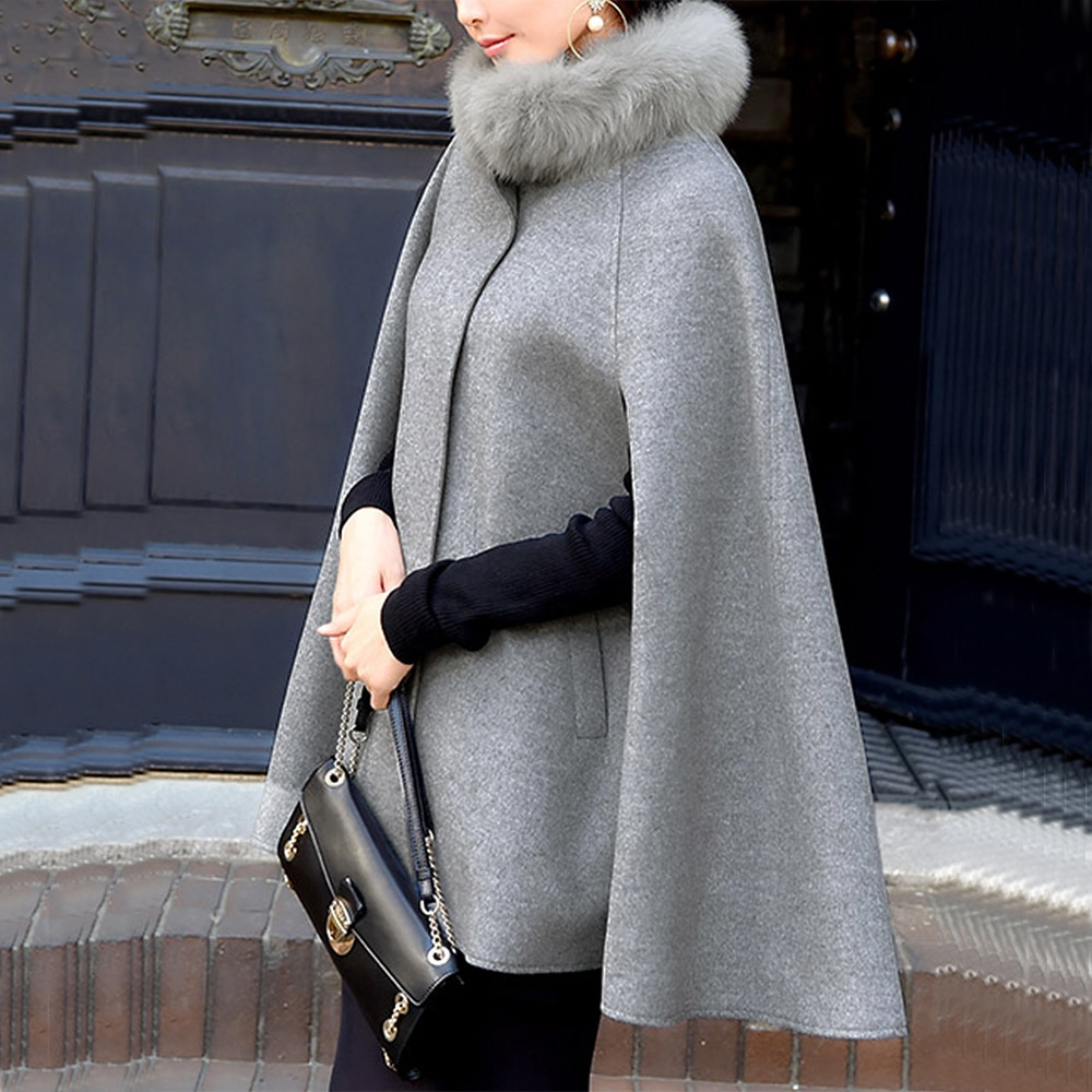 Capas casuales de mujer 2020 Vintage Oficina señora botón liso invierno mujer elegante moda abrigos cuello de piel sintética abrigos con estilo