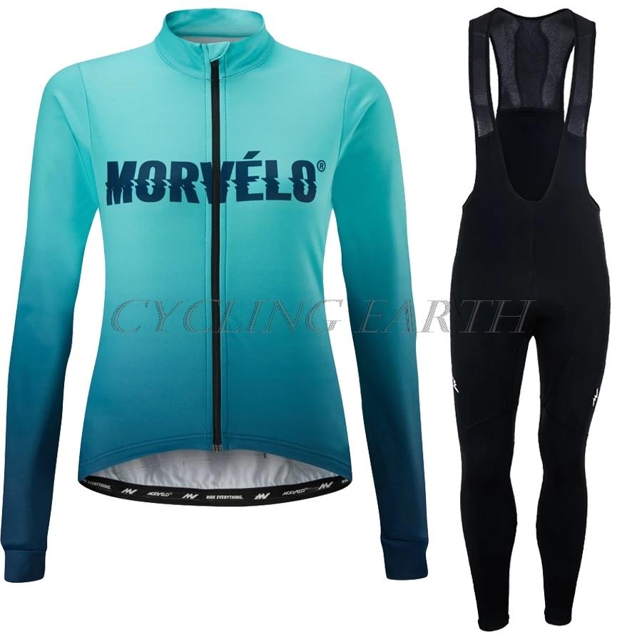 Morvelo-Conjunto de manga larga de Ciclismo para mujer, Maillot, pantalones con pechera...