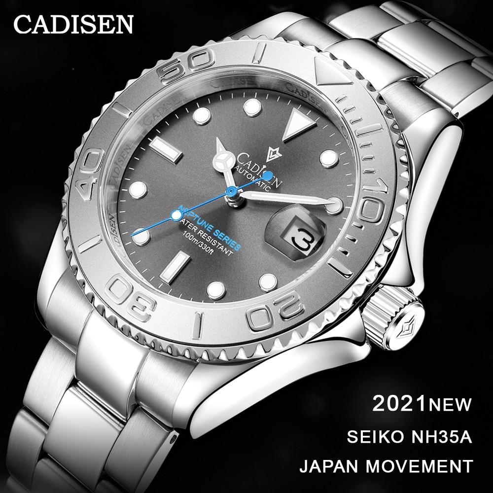 CADISEN 2021 Men Watches Luxury Sapphire Automatic Mechanical Watch for 100M Waterproof NH35A Japan Movement Auto Date