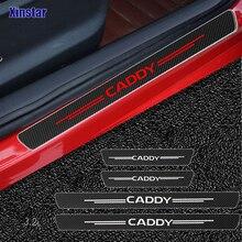 4pcs Carbon Fiber Car Door Sticker For Volkswagen Caddy Auto Accessories