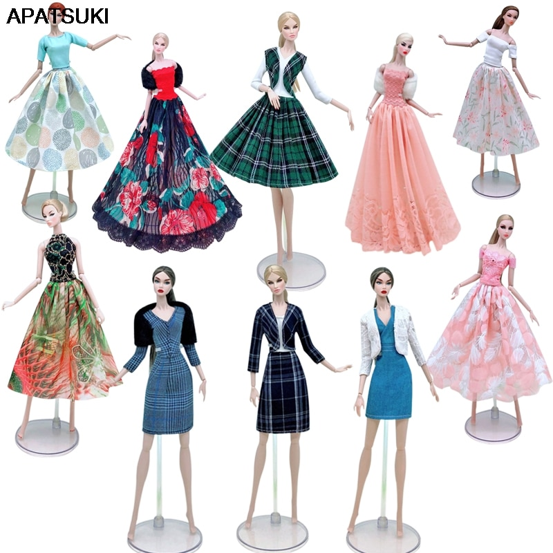 AliExpress - Fashion Lace Doll Clothes Set For Barbie Doll Dress Outfits Party Gown Tank Shirt Skirt Coat Jacket 1/6 Dolls Accessories Toys