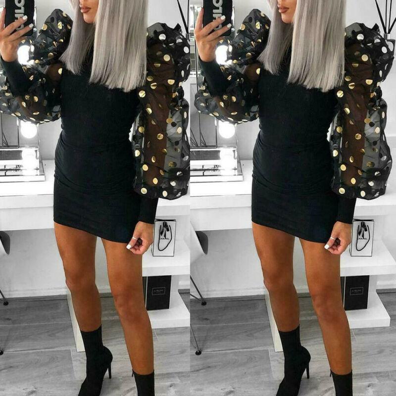 Hirigin woman polka dot sleeve dress 2020 casual party puff mesh long sleeve dress bodycon short mini dress autumn slim dresses
