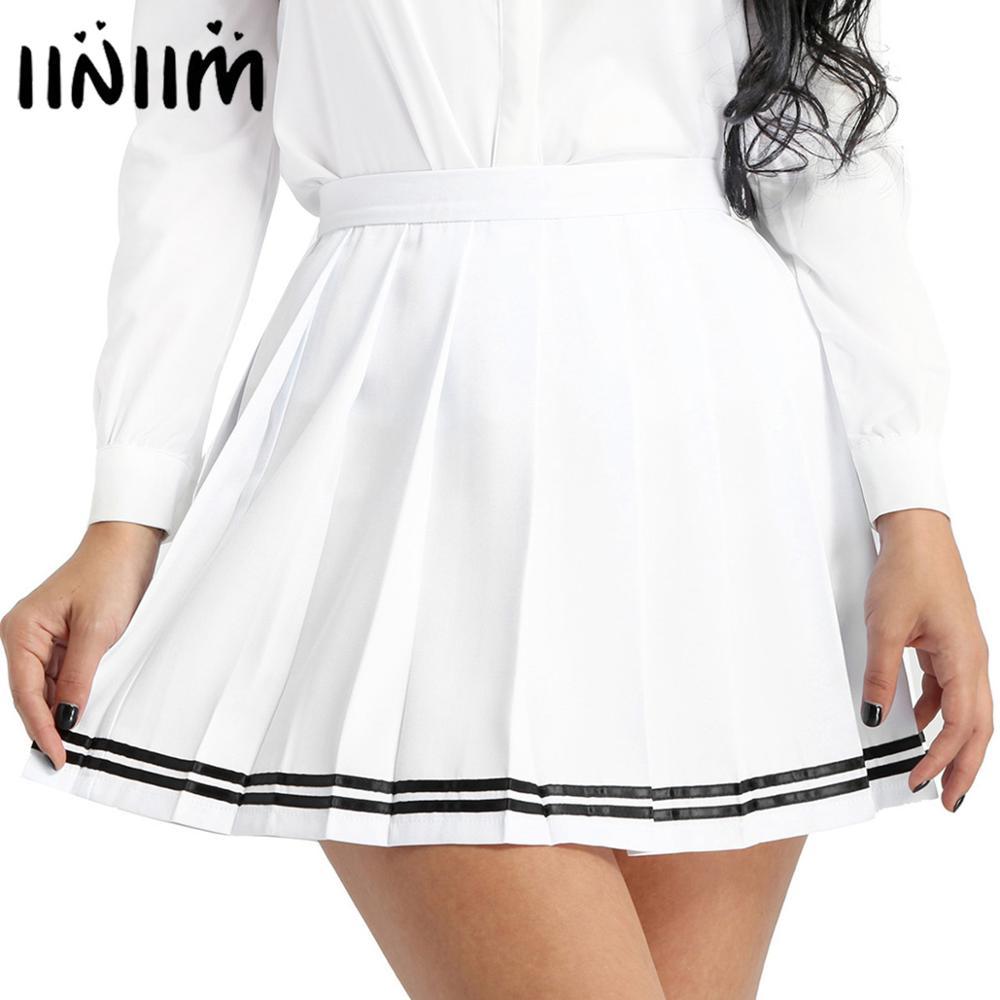 Iiniim das mulheres meninas uniformes escolares japoneses mini saias sexy preppy mini saias senhoras feminino minissaia para clubwear