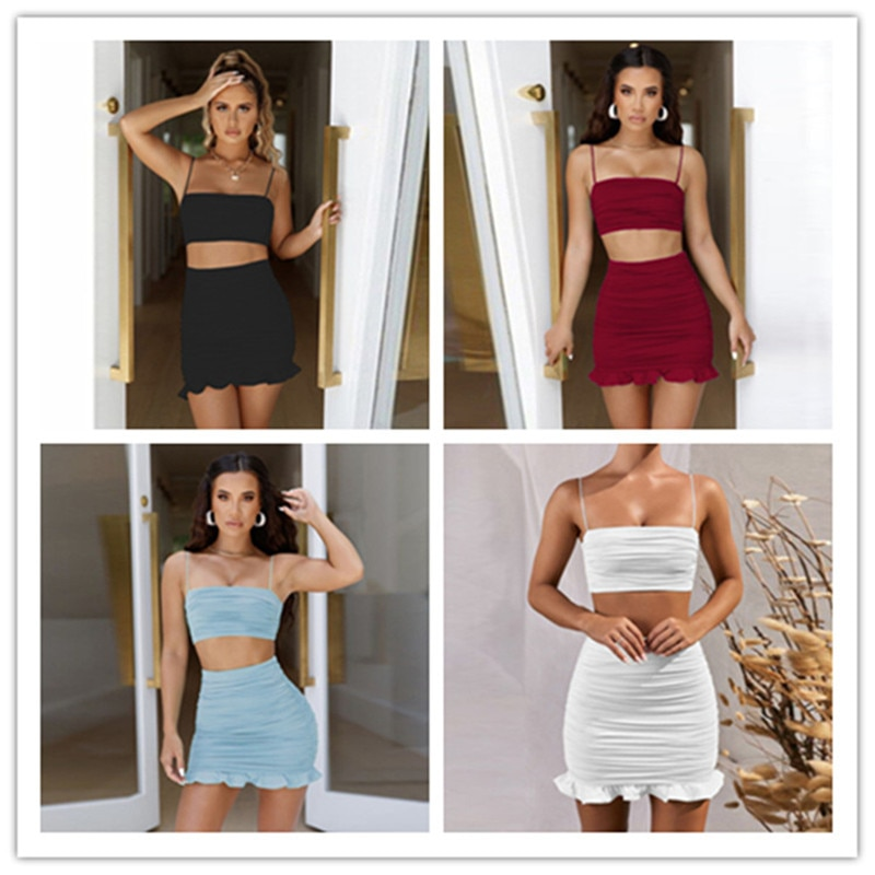 Summer 2021 Women Set Spaghetti Strap Crop Top White Sexy And Mini Bodycon Skirt Ruffles Party Outfit Club Two Piece Sets