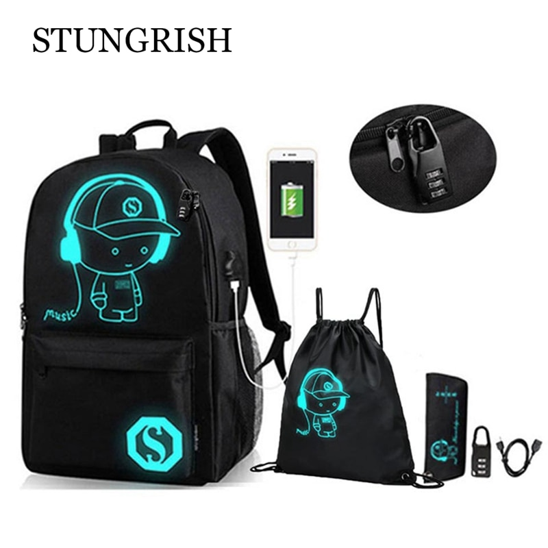 New Backpack for School Anime Luminous Bag College Bookbag Anti-Theft Laptop Backpack with USB Charg
