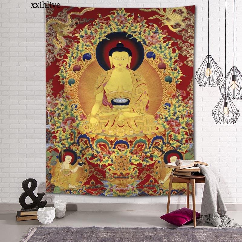 Гобелен на заказ с принтом буддизма, большие настенные гобелены в стиле хиппи, настенное украшение в богемном стиле, украшение для комнаты ...