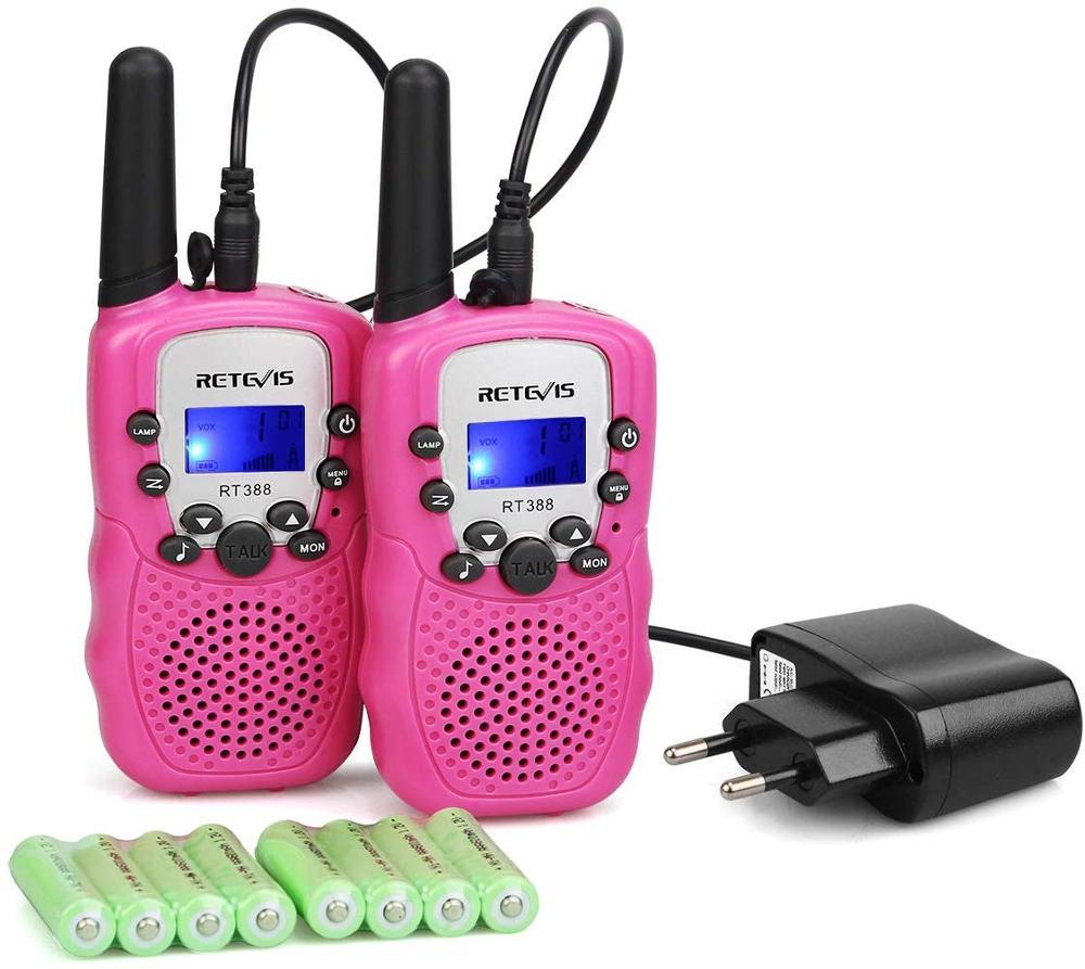 Retevis RT388 Rechargeable Walkie Talkie 2pcs Kids Mini Two-way Radio 0.5W PMR446 VOX Handsfree Flashlight Birthday Gift Camping