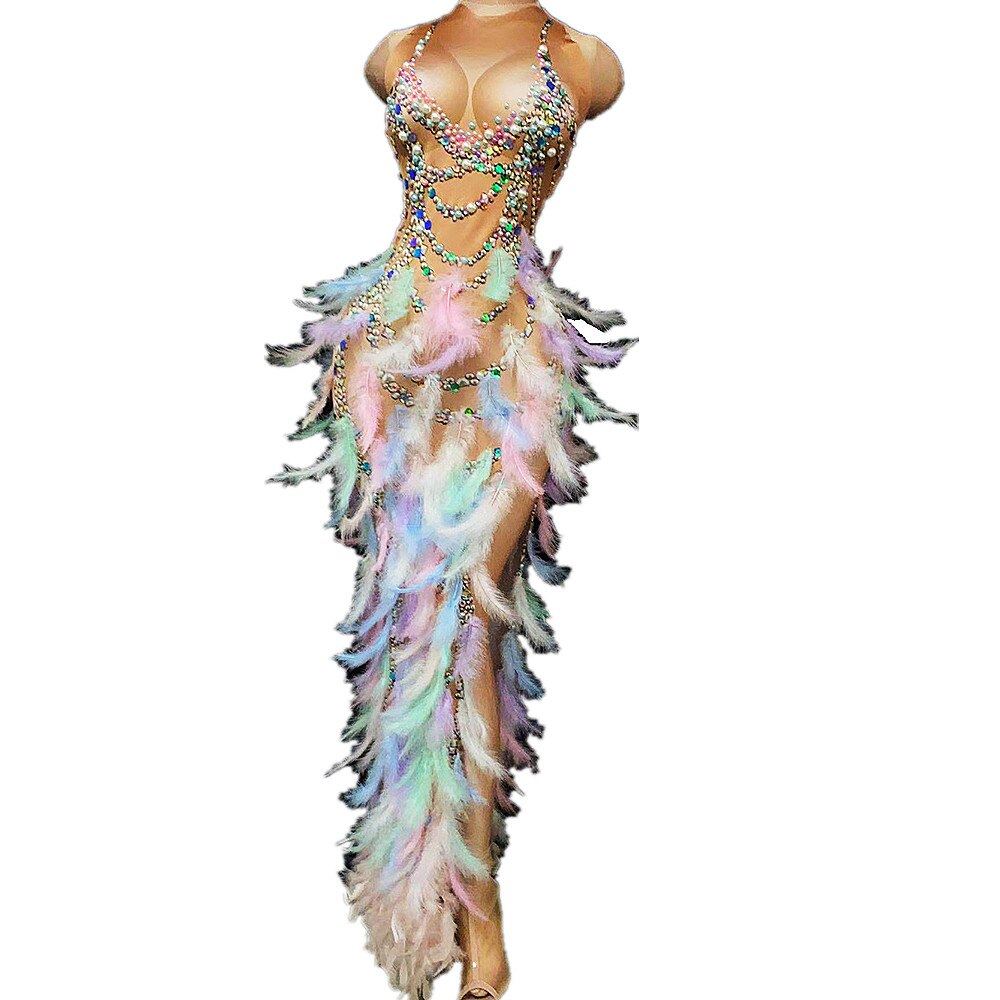 الراين الطباعة اللؤلؤ الديكور فساتين متعدد الألوان ريشة أكمام المرحلة ارتداء سيدة الأداء دعوى بار تظهر الملابس