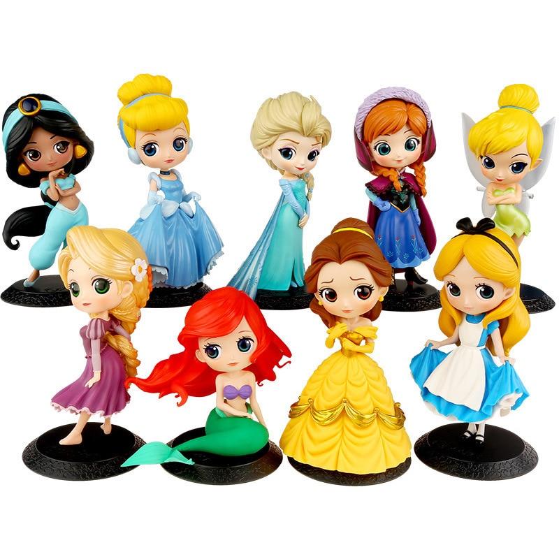10 styles Princess Q Posket Elsa Anna Rapunzel Belle Snow White Action Figures Pvc Anime Dolls Collection For Girl