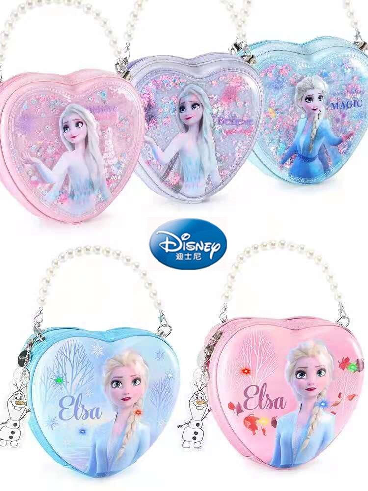 Disney Frozen Handbag Messenger Bag For Girl Children PU Fashion Glitter Magnetic Button Bags Age 2-6 Years Lovely Birthday Gift