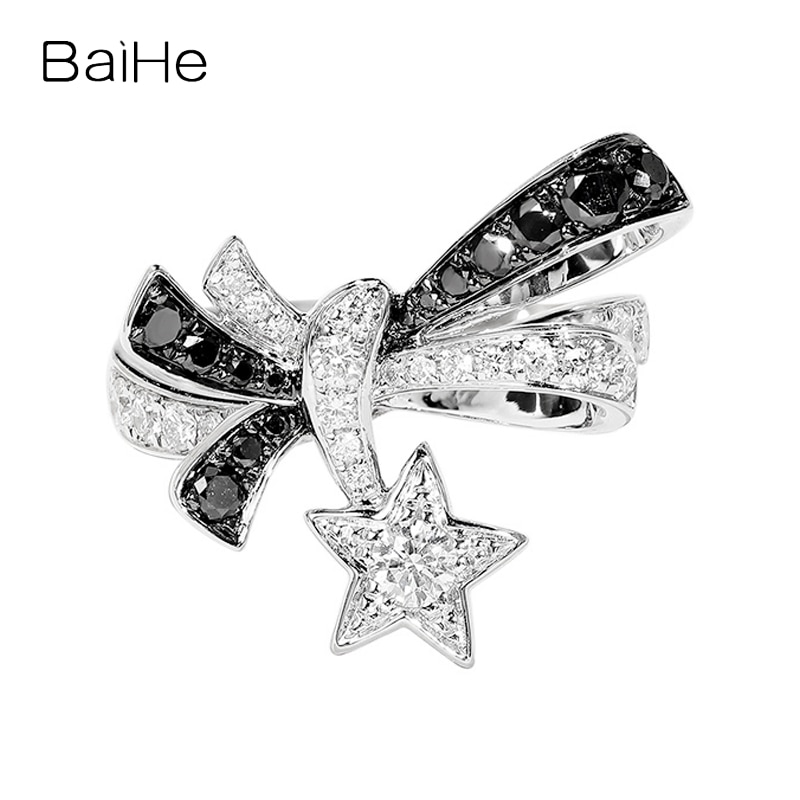 BAIHE الصلبة 14K الذهب الأبيض H/SI خاتم الماس الطبيعي الأسود خاتم الماس فتاة المرأة العصرية غرامة مجوهرات خاتم على شكل نجمة кальцsingsing